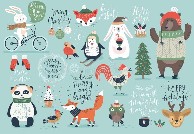 Jul ställde in, handen dragen stil - kalligrafi, djur och andra beståndsdelar vektor illustrationer