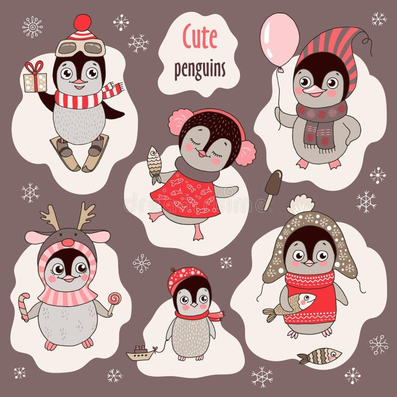 Jul ställde in med sex gulliga pingvin och snöflingor royaltyfri illustrationer