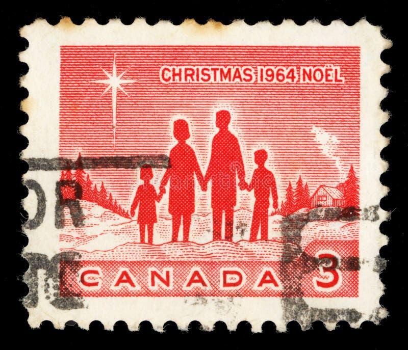 Jul stämplar utskrivavet i Kanada shower familj och Betlehems stjärna royaltyfri bild