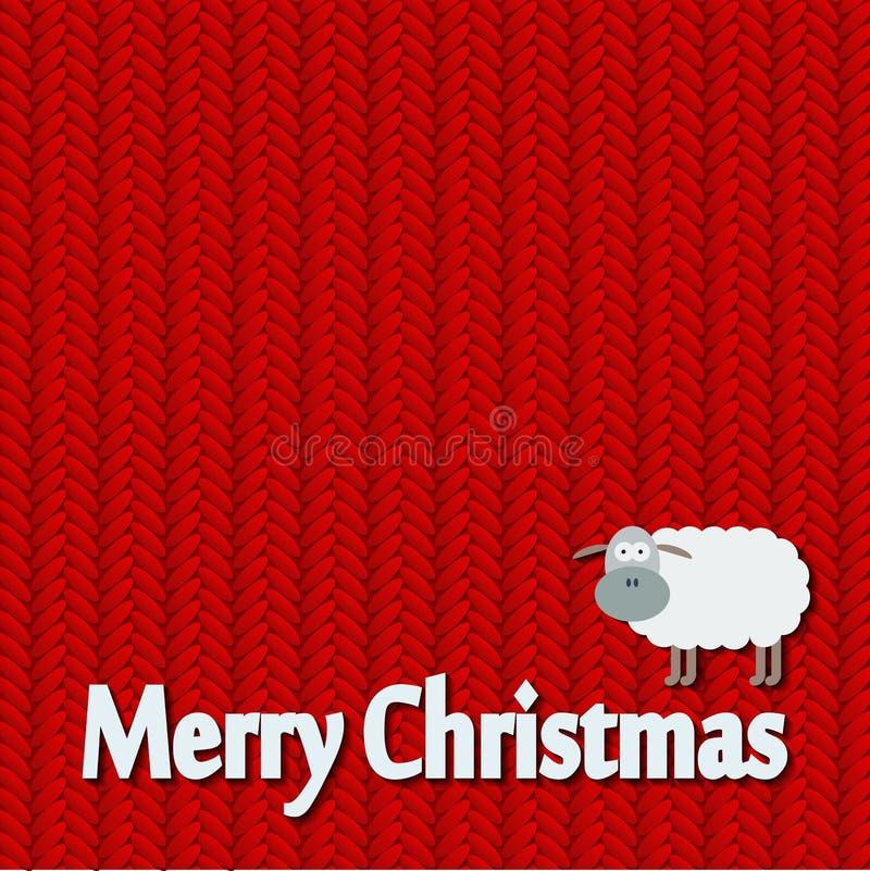 Jul stack modellkortet med roliga får royaltyfri illustrationer