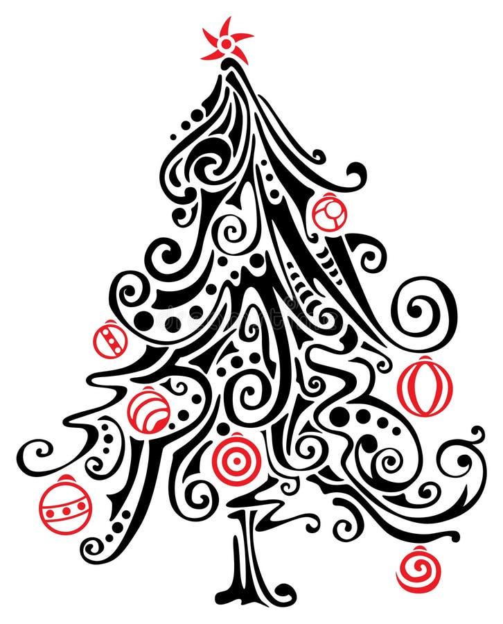 jul stylized tree royaltyfri illustrationer