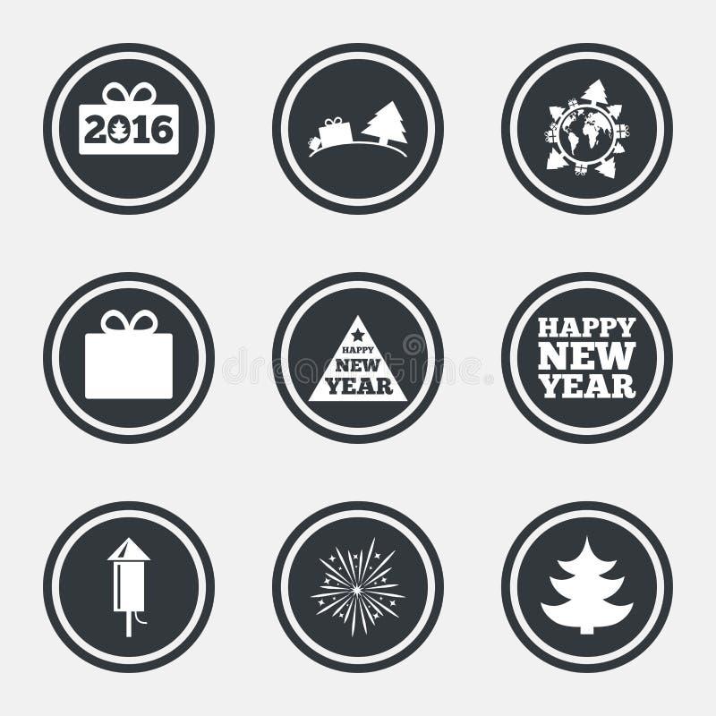 Jul symboler för nytt år Gåvaask, fyrverkerier royaltyfri illustrationer
