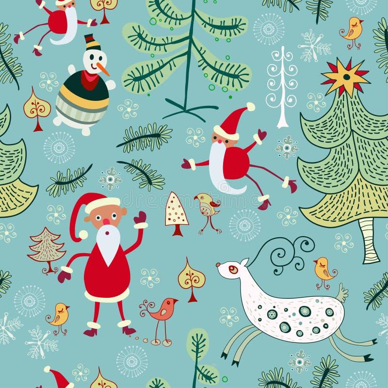 Jul texturerar med gullig jultomten, hjortar royaltyfri illustrationer