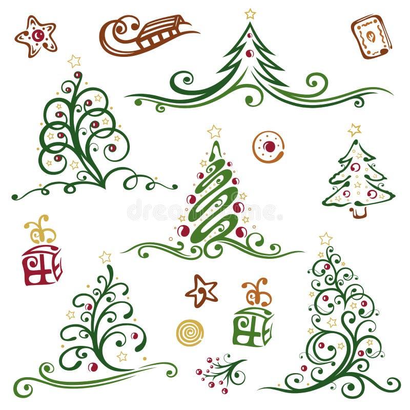 Jul träd vektor illustrationer