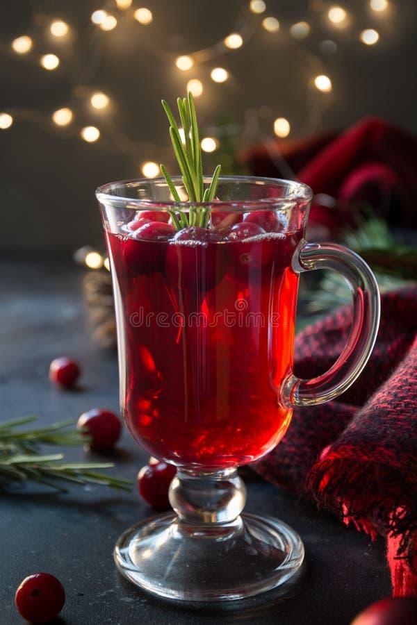 Jul tranbär och äpple funderade vingarneringrosmarin och granfilialer på svart Xmas-drink arkivbilder