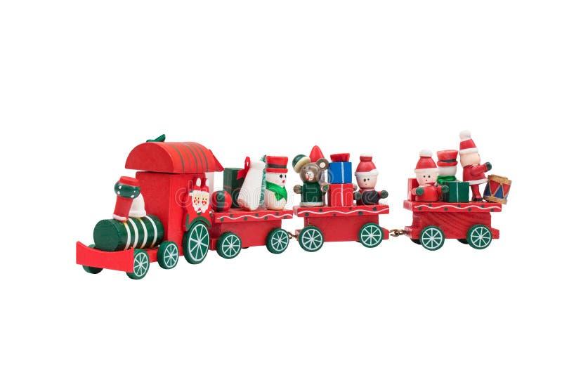 Jul utbildar leksakmodellen bär snögubben och gåvor royaltyfria foton