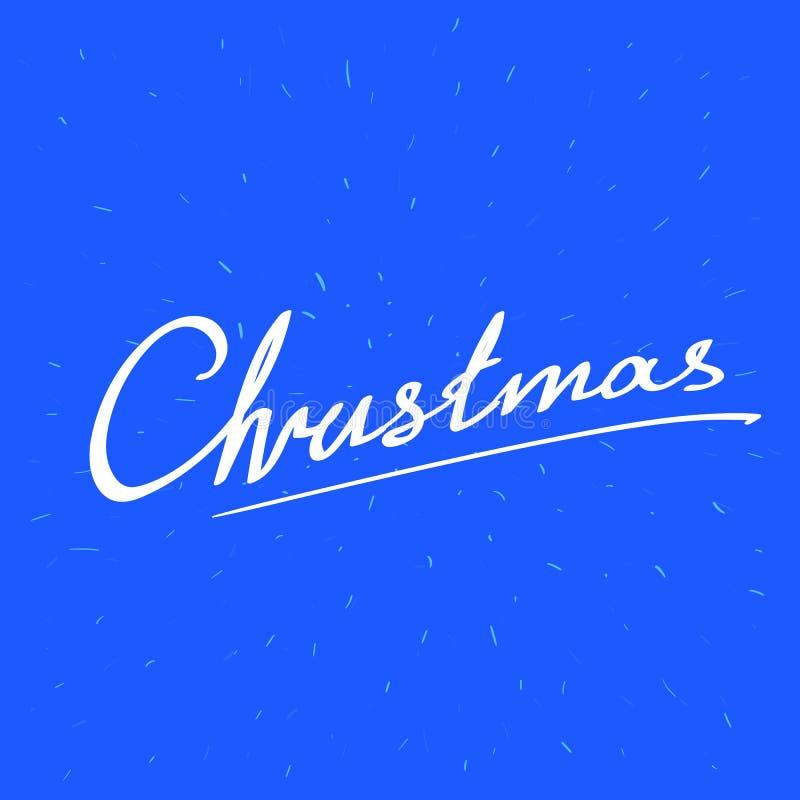 Jul uttrycker på blåttabstrakt begreppbakgrund med fallande snö royaltyfri illustrationer