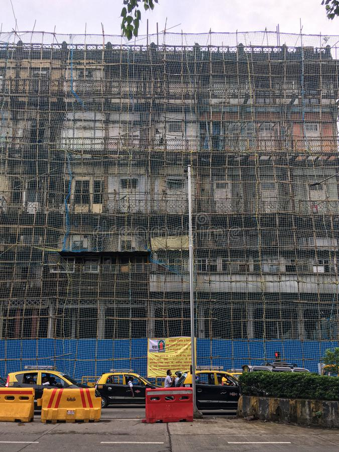 Watson`s Hotel, now known as the Esplanade Mansion, is India`s oldest surviving cast iron building.under renovation It is locate stock photography