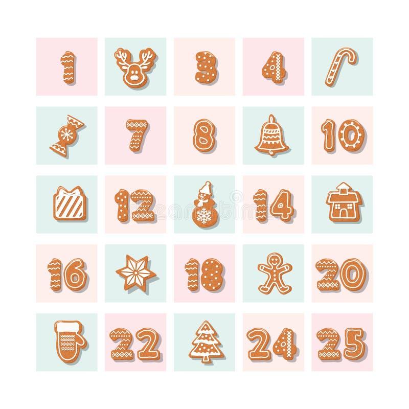 Juladventkalender, dekorerade wirhpepparkakakakor stock illustrationer