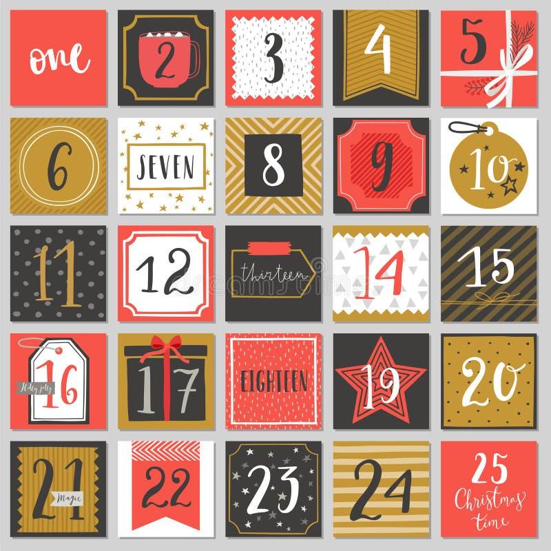 Juladventkalender, hand dragen stil stock illustrationer