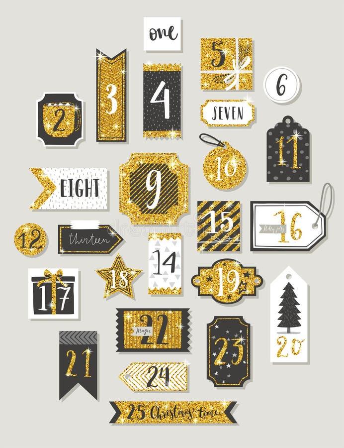 Juladventkalender, hand dragen stil royaltyfri illustrationer