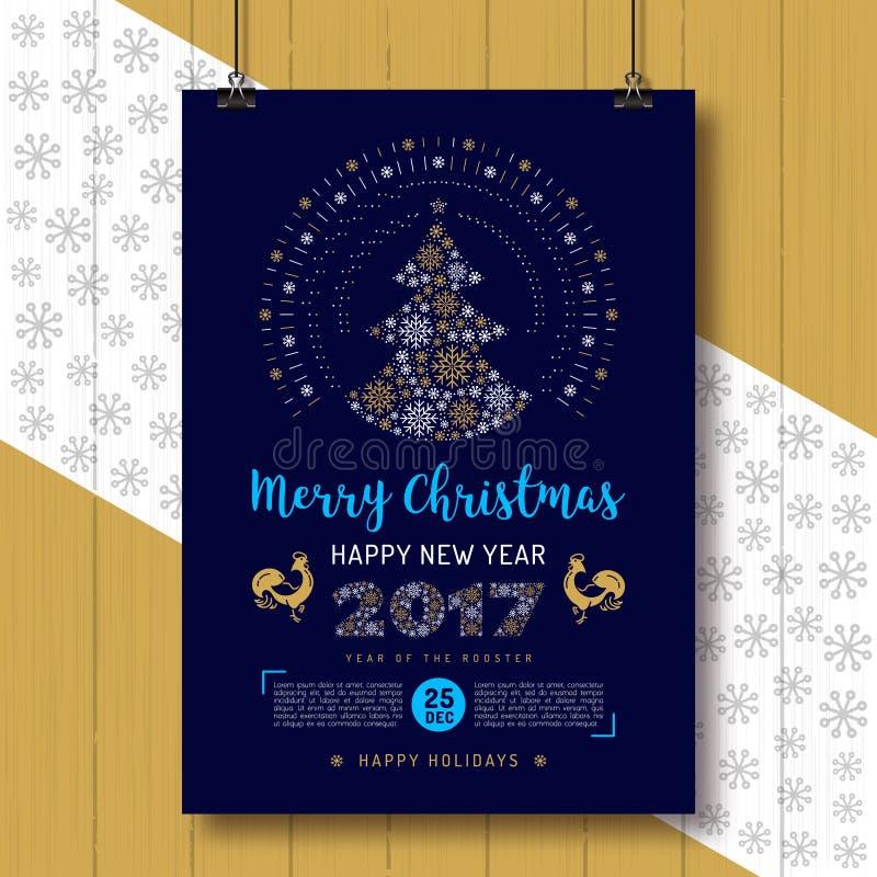 Julaffisch, reklamblad för parti för tupp 2017 för lyckligt nytt år, plakat stock illustrationer