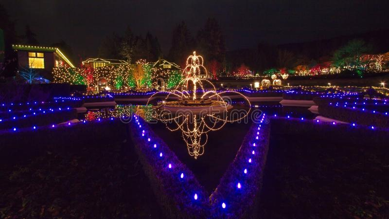 Julafton i Butchart trädgårdar royaltyfri fotografi