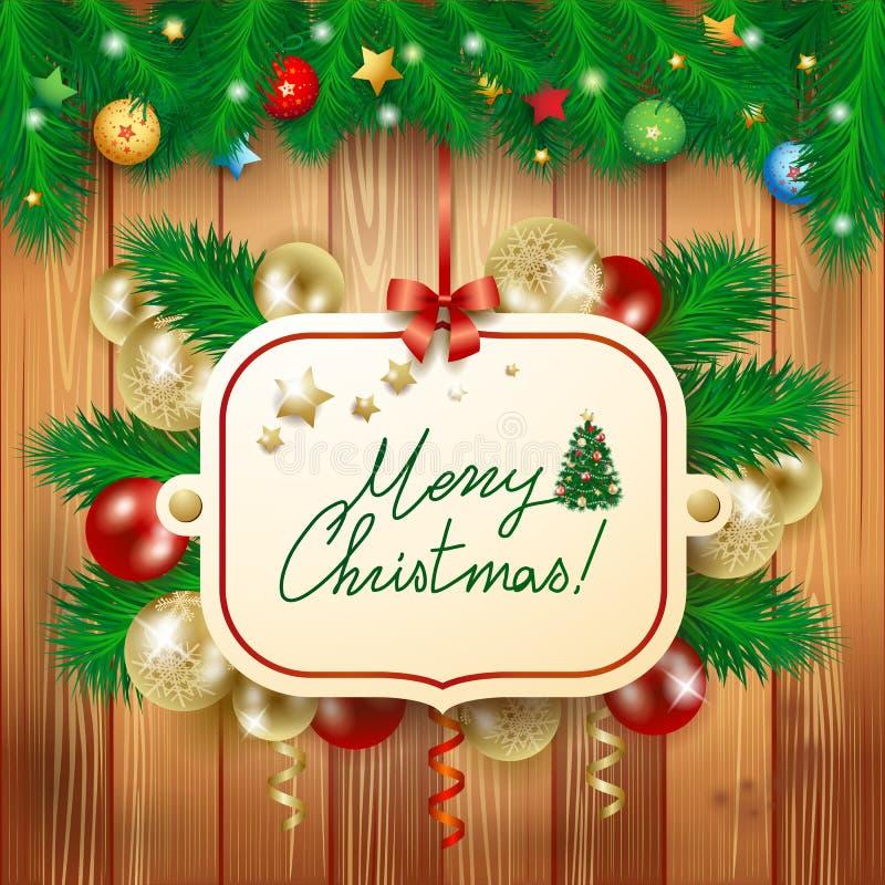 Julafton med rolig jultomten royaltyfri illustrationer
