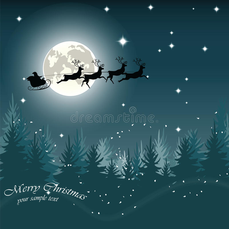 Julaftonkort med jultomten släde och ren vektor illustrationer