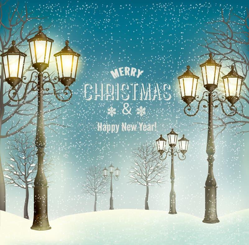 Julaftonlandskap med tappninglyktstolpar stock illustrationer