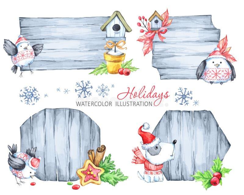 Julanslagstavlor med granfilialer, leksaker, den gulliga valpen och fåglar stock illustrationer