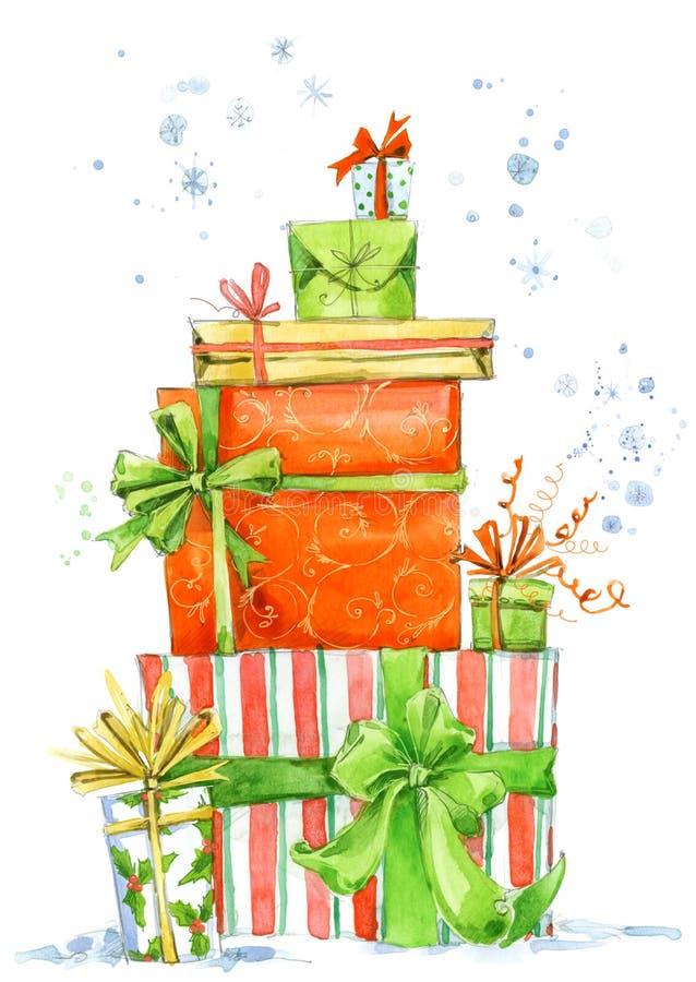 Julask Illustration för vattenfärggåvaask Bakgrund för inbjudankort för nytt år vektor illustrationer