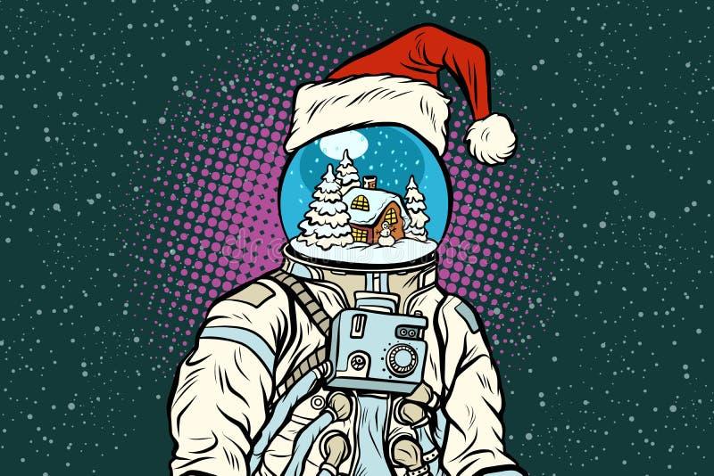 Julastronaut med drömmar av pepparkakahuset vektor illustrationer