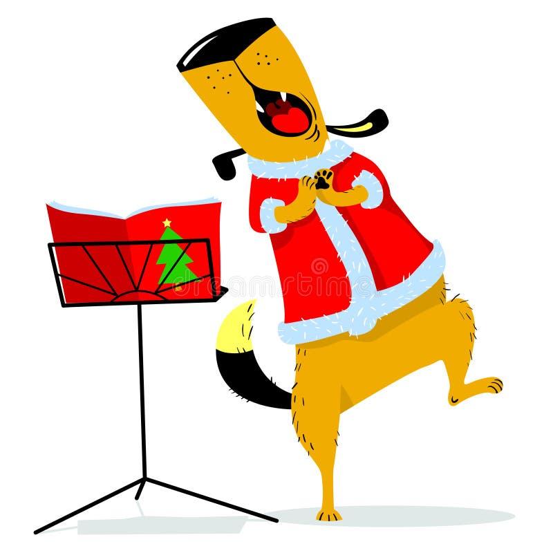 Julavatar med en sjungande hund Ny sjungande hund för års` s bil vektor illustrationer
