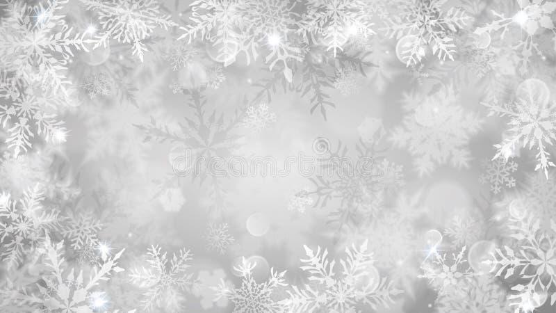 Julbakgrund av suddiga snöflingor vektor illustrationer
