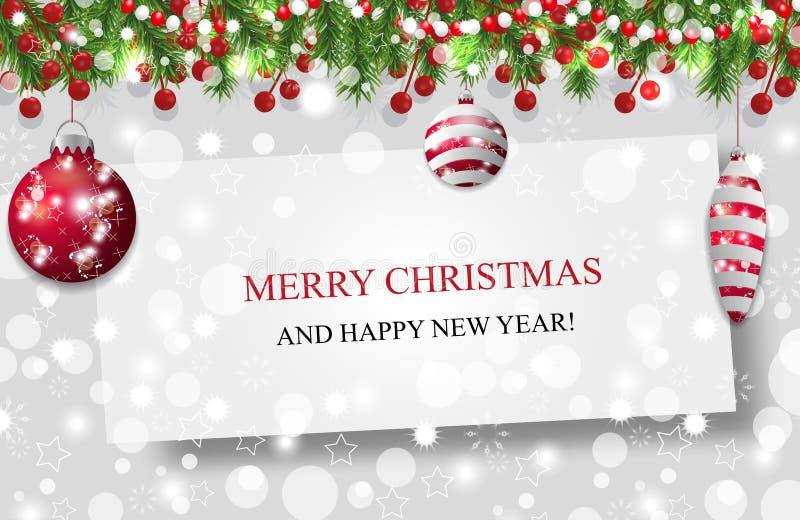 Julbakgrund, garneringgirland för nytt år med granfilialer, pärlor och järnekbär och röda struntsaker vektor stock illustrationer