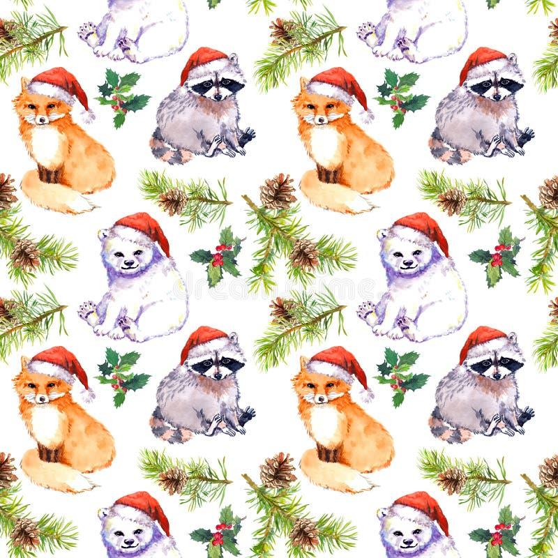 Julbakgrund - gulliga djur i röda hattar för santa ` s, sörjer filialer upprepa för modell vattenfärg stock illustrationer