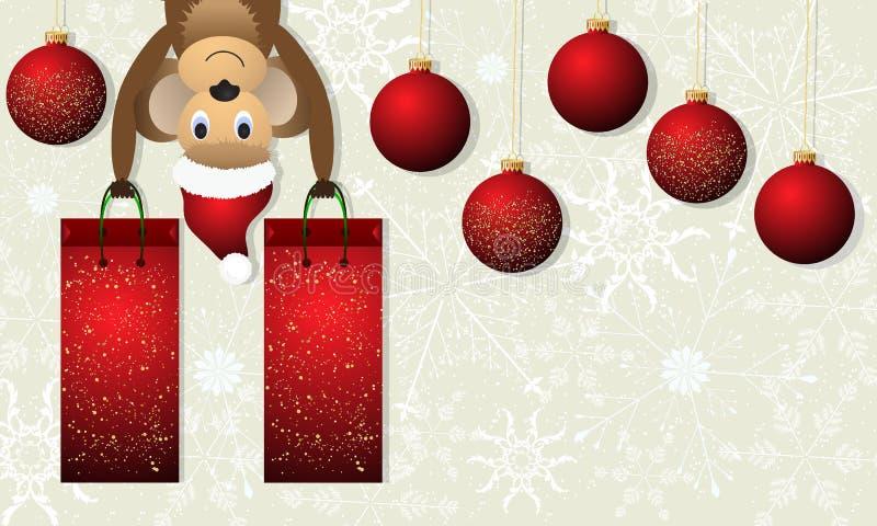 Julbakgrund med apan och röda julbollar royaltyfri illustrationer