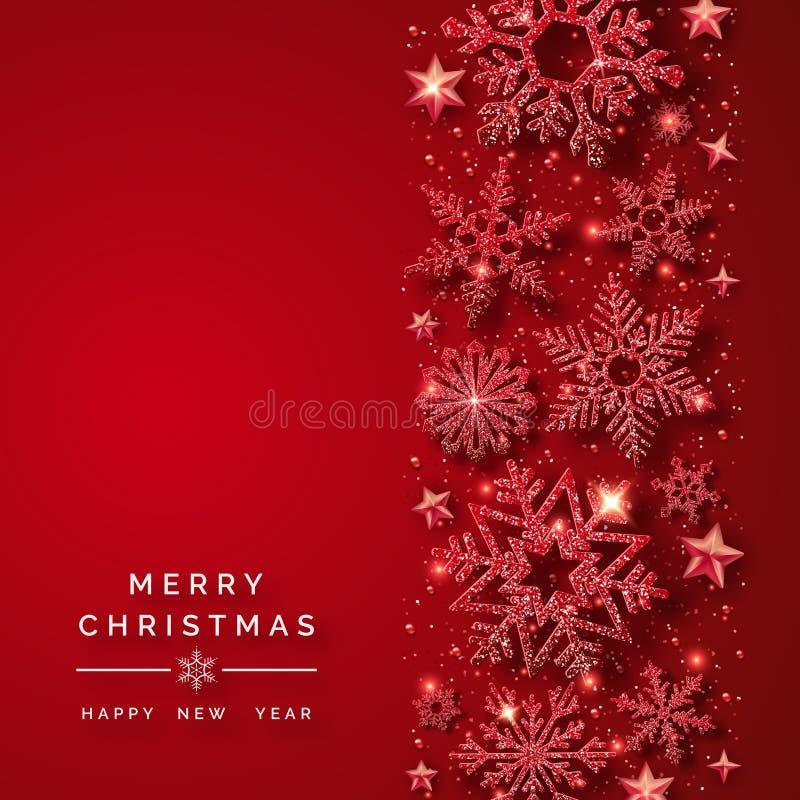Julbakgrund med att skina röda snöflingor och snö Glad julkortillustration på röd bakgrund stock illustrationer