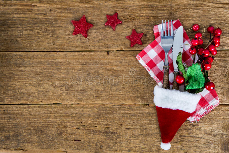 Julbakgrund med bestick royaltyfria foton