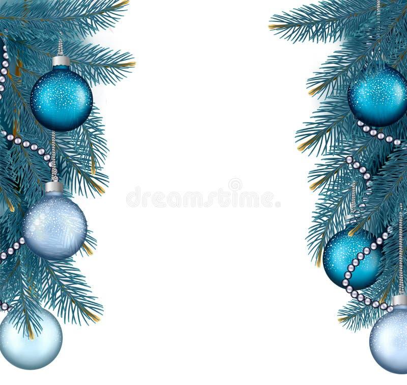 Julbakgrund med bollar och filialer. stock illustrationer
