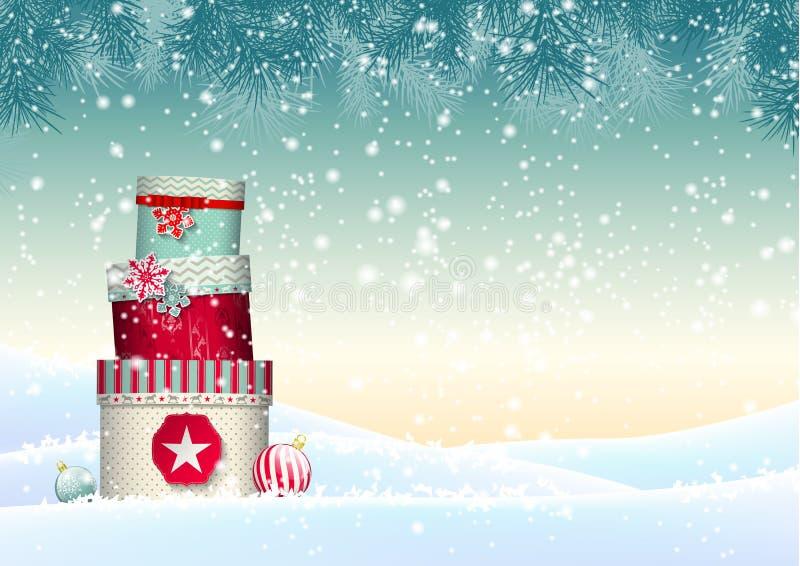 Julbakgrund med bunten av färgrikt royaltyfri illustrationer