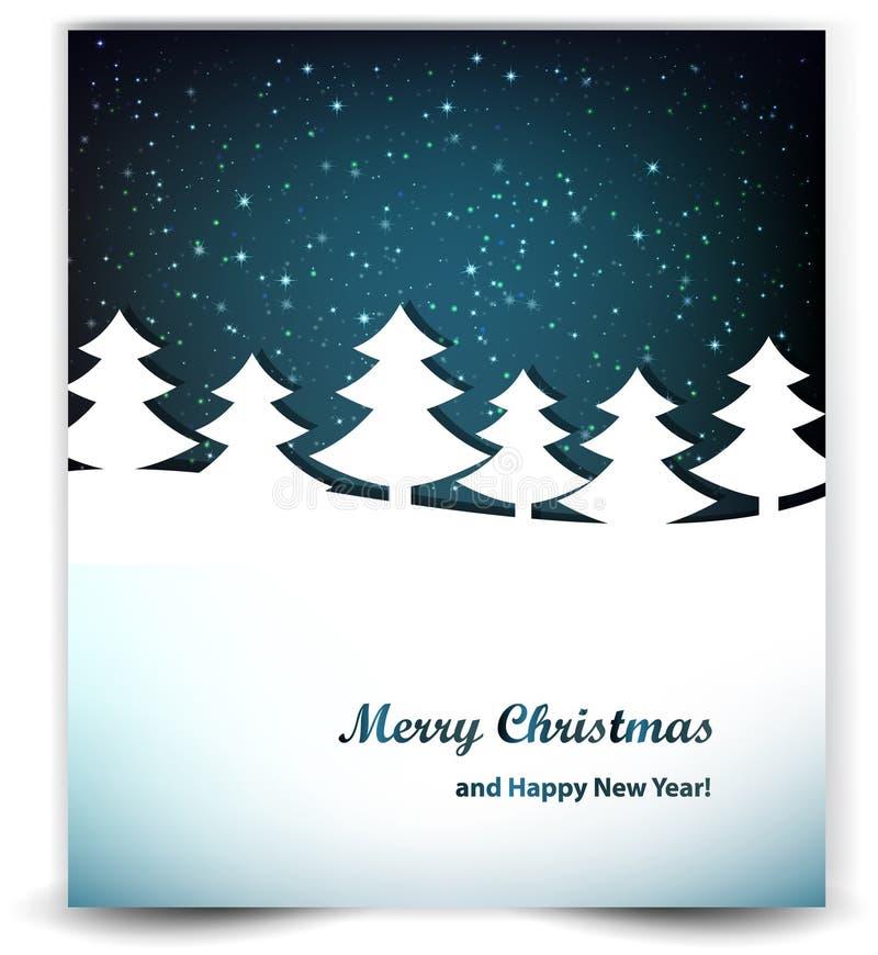 Julbakgrund med de natthimlen och träden royaltyfri illustrationer