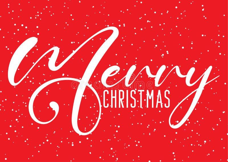 Julbakgrund med dekorativ text- och snöeffekt stock illustrationer