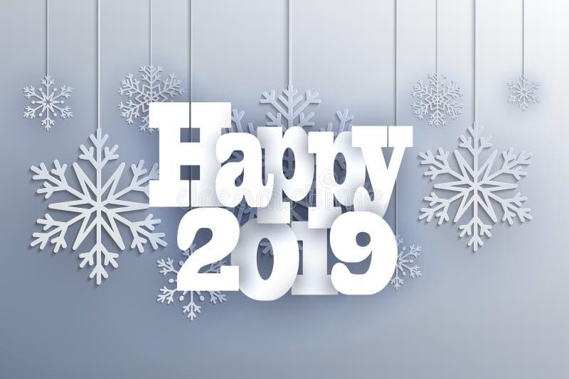 Julbakgrund med den dekorativa snöflingan Glad jul och lyckligt hälsningskort för nytt år Pappers- klippta snöflingor planlägger royaltyfri illustrationer