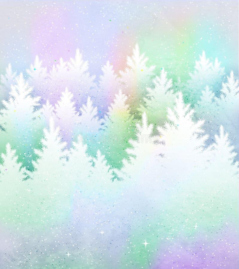 Julbakgrund med den frostiga vinterskogen stock illustrationer