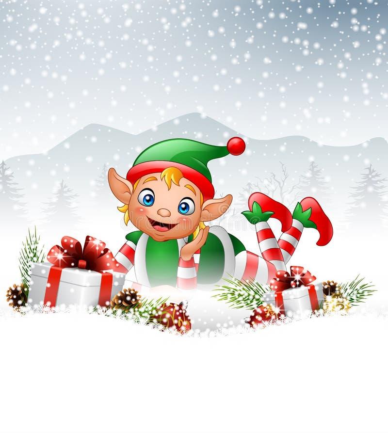 Julbakgrund med den lilla älvan som lägger på snön royaltyfri illustrationer