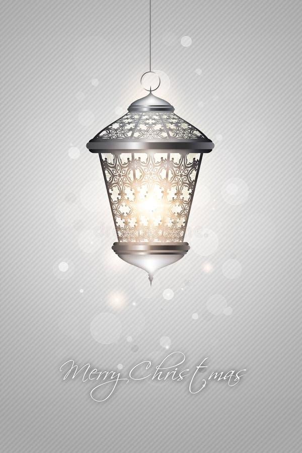 Julbakgrund med den skinande lyktan vektor illustrationer