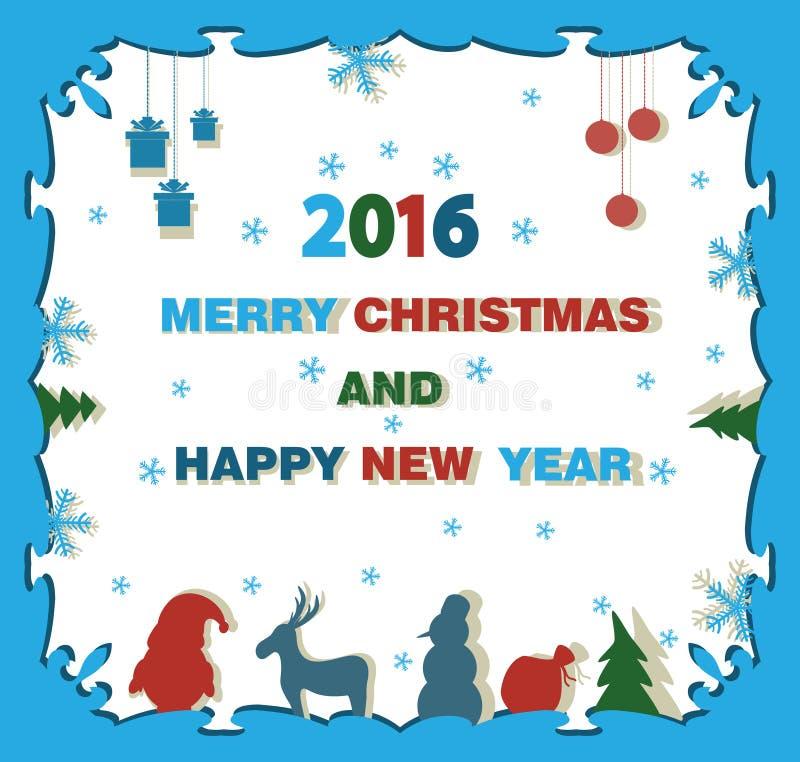 Julbakgrund med en ren, en julgran och en jultomten C royaltyfri illustrationer