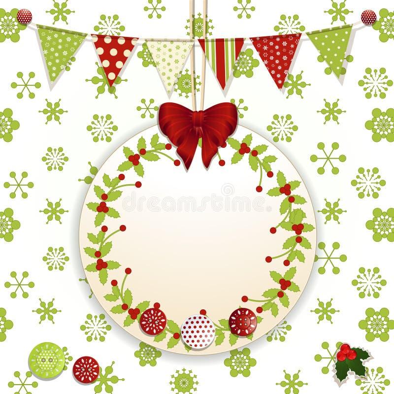 Julbakgrund med etiketten och bunting vektor illustrationer