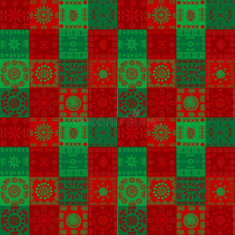 Julbakgrund med etniska motiv vektor illustrationer
