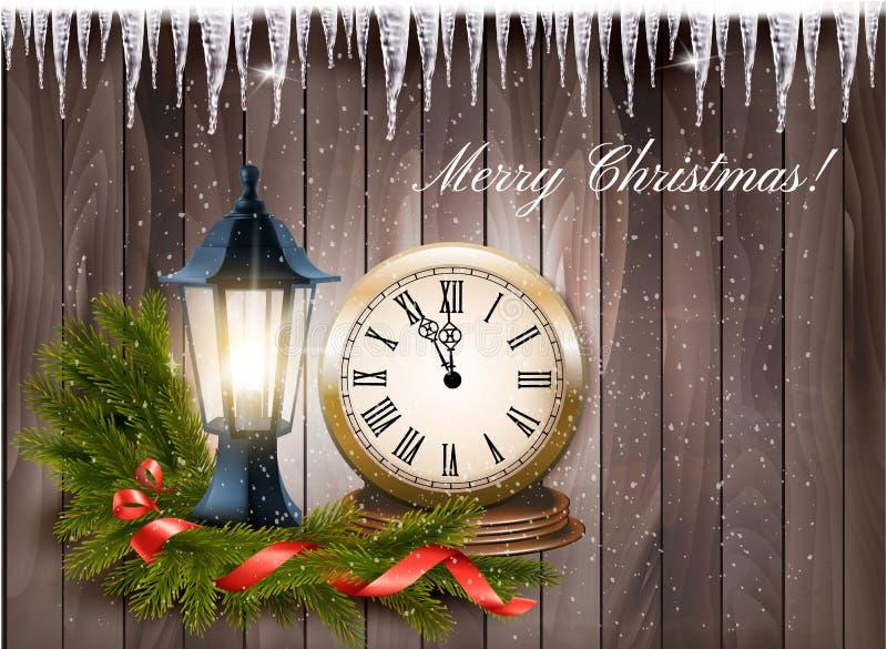 Julbakgrund med ett lykta- och klocka- och gåvaband stock illustrationer