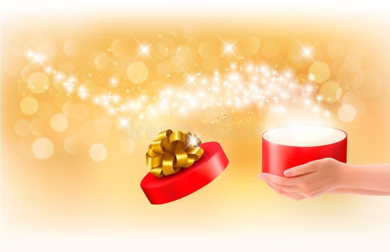 Julbakgrund med gåvamagi boxas stock illustrationer