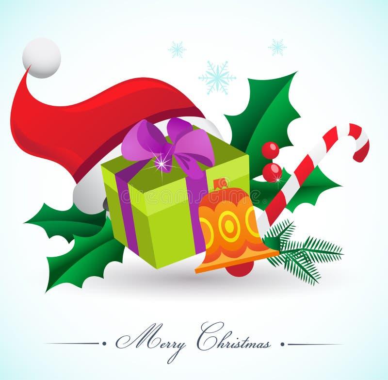 Julbakgrund med gåvor och element stock illustrationer