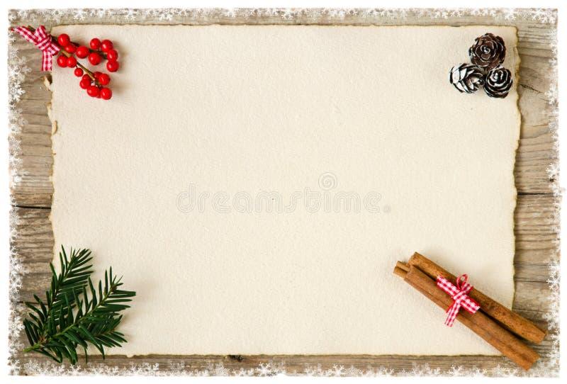 Julbakgrund med gammalt papper royaltyfria foton