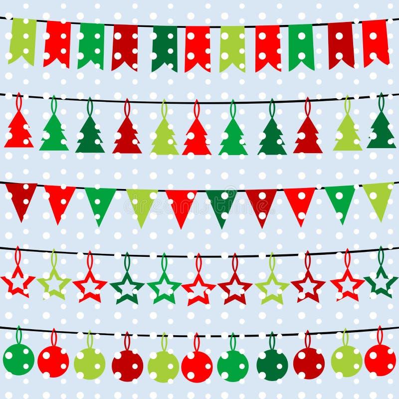 Julbakgrund med girlander och buntings över en snöflinga vektor illustrationer