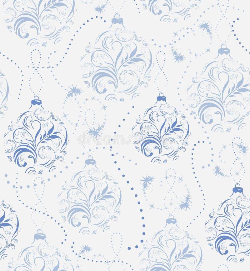 Julbakgrund med glitter och dekorativa blåa bollar stock illustrationer