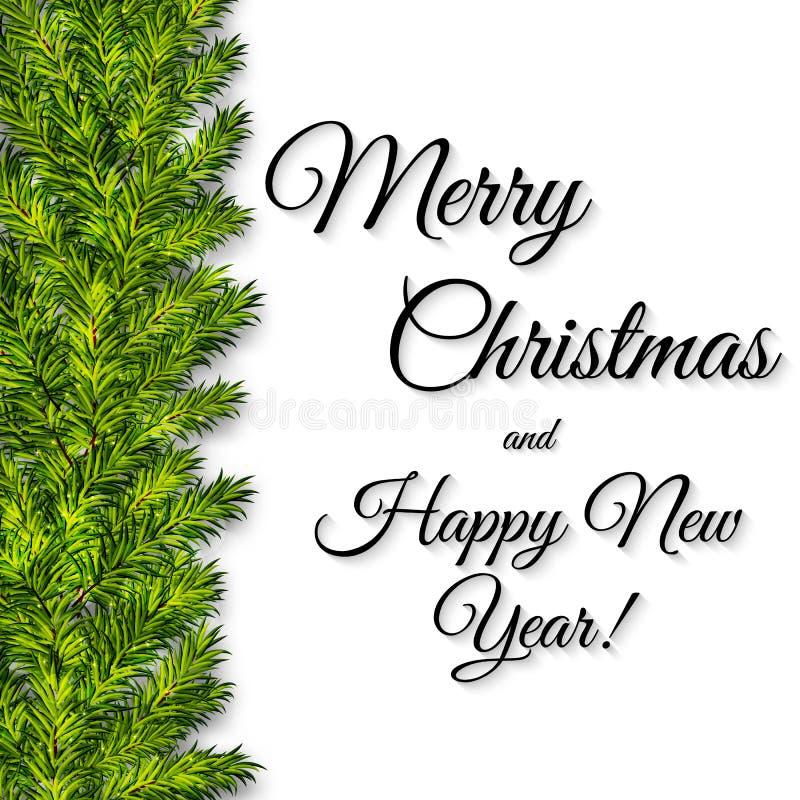 Julbakgrund med gröna julträdfilialer vektor illustrationer