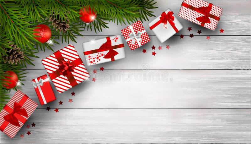 Julbakgrund med granfilialer och gruppen av röda gåvaaskar på den vita trätabellen stock illustrationer