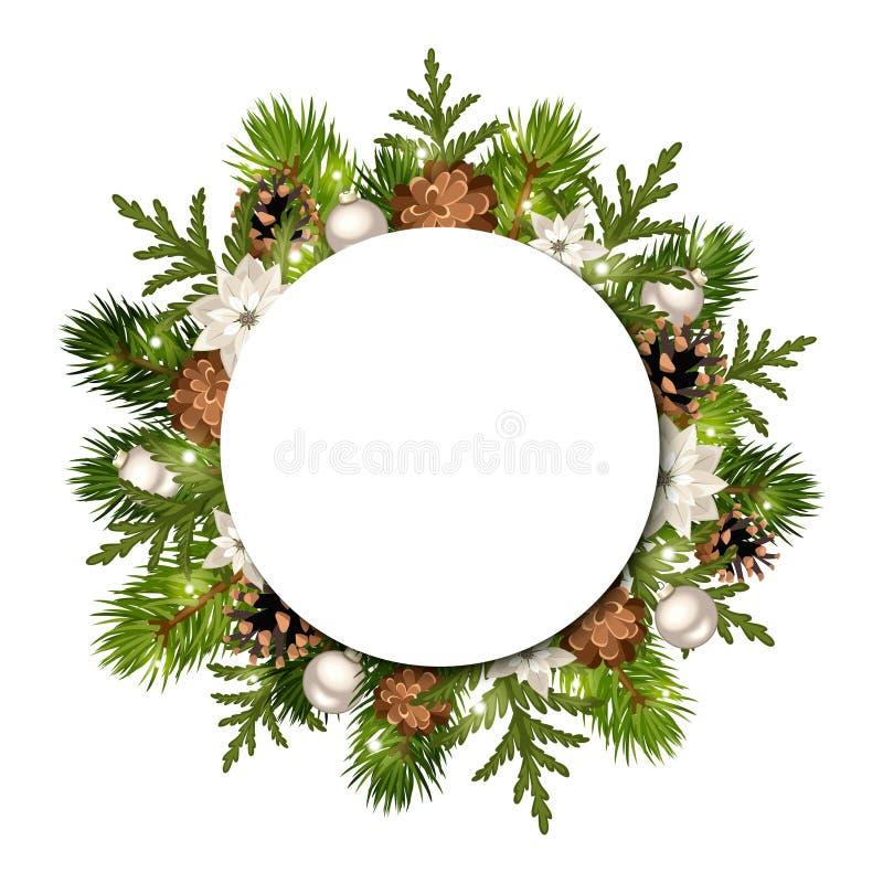 Julbakgrund med granfilialer och kottar Vektor EPS-10 royaltyfri illustrationer